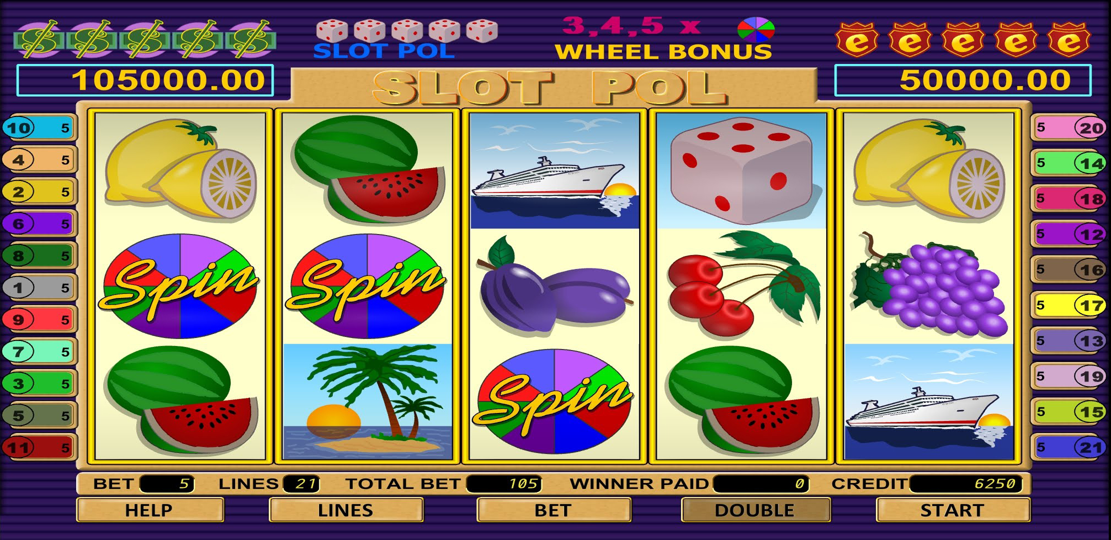 Prizes on the Big Wheel in No Download Spin Magic Slots